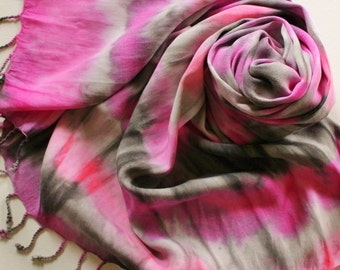 SALE Hand Painted Fringed Scarf - Hand Dyed Scarves Fringe Black Gray Grey Hot Pink Magenta Raspberry Salmon Coral White Batik Tie Dyed