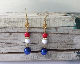 Red, White, and Blue Drop Earrings