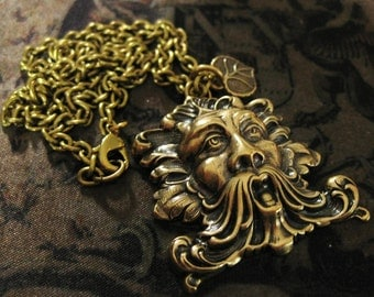 Greenman Necklace Brass Vintage Nature Spirit forest spirit forest jewelry renaissance necklace Woodsy Leaf Jewelry Nature Lover Green Man