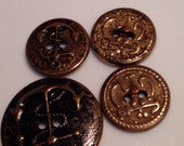 4 Vintage Sewing Buttons with anchors