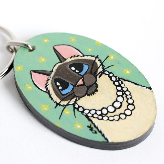 Handpainted Wood CAT Keyring Keychain by Lisa Marie Robinson | Seal Point, Pearls, Girly