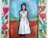 Mexican Folk Painting Rustic Frame