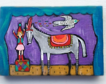 Folk Art Circus Pony Painting on Wood