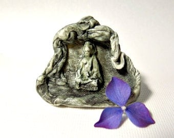 Buddha Meditating in a Cave Tiny Porcelain Statue Ceramic Art Miniature