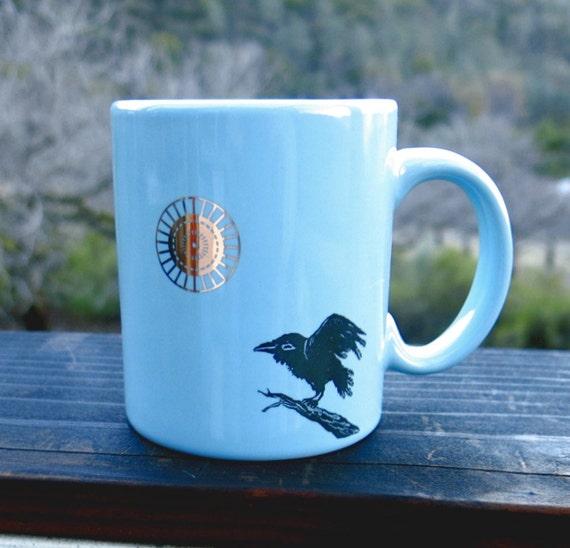 Raven Mug - Turquoise Ceramic Crow Coffee Cup - Golden Sun