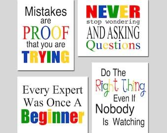 Classroom Decor Inspirational Quotes Classroom Art Playroom Decor Kids Wall Art - Set of Four 11x14 Prints - CHOOSE YOUR COLORS