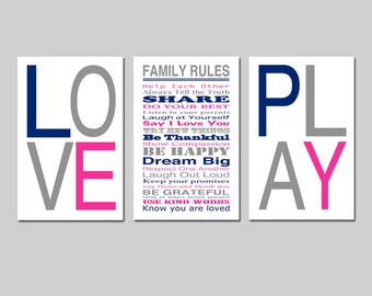 Family Rules LOVE PLAY Wall Art Trio Playroom Decor Playroom Rules House Rules Kids Wall Art Set of Three 13x19 Prints - Choose Your Colors
