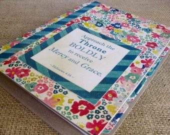Legacy Prayer Journal, Bound Book, Bright Blues and Pinks Floral with Teal Chevron Accents