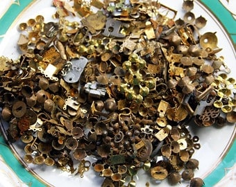 RUSTY METAL BITS- Vintage Jewelry Findings- Distressed Craft Supply- (24) Pieces- Altered Art