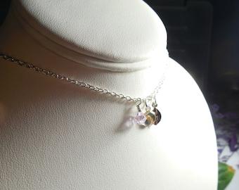 Mustard Seed Necklace Strength Faith Birthstone Monogram Initial Charm Custom Personalized