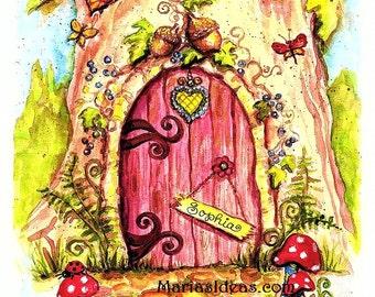 Fairy Door art, Painted Fairy door, Personalized Fairy door, Fairy wall art, Nursery wall art,