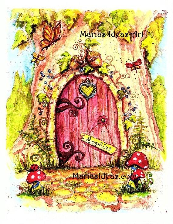 Fairy door art painted fairy door personalized fairy door for Fairy door wall art