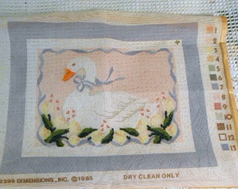 "Blue Ribbon GOOSE NEEDLEPOINT Kit DIY to Make Vintage Dimensions #2299 Fin Size 14"" by 11"" Directions Persian Wool Cotton Mesh Canvas"