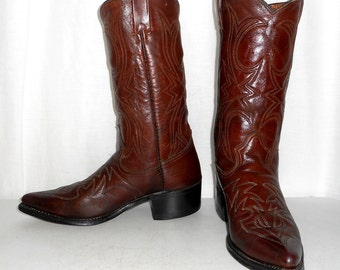 Mens size 9 D Vintage Texas Cowboy Boots Rockabilly Western Shoes Womens 10.5 Indie Folk