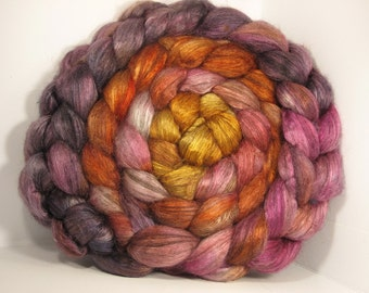 Yak Bombyx Silk 50/50 Roving Combed Top - 5oz - Hibiscus 1