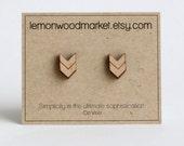 Arrow herringbone earrings - alder laser cut wood earrings