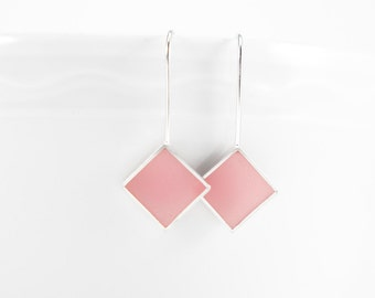 Panic Earrings pink resin and sterling silver earring-  gift mothers day
