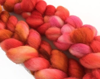"Hand dyed BFL wool top, ""Tequila Sunrise"", 4.0 oz."