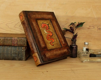 Leather Journal with Handpainted Decoration on Gold Leaf, One of a Kind, The Sun Dragon
