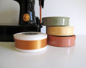 Vintage Satin Ribbon Spools Green Gold  Yellow New Old Stock 10 and 20 Yard Rolls