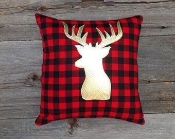 Deer Pillow Cover, Deer Antler Pillow Cover, Christmas Pillow, Christmas Decoration Under 25, Holiday Decoration, Plaid Decor,Buck Pillow