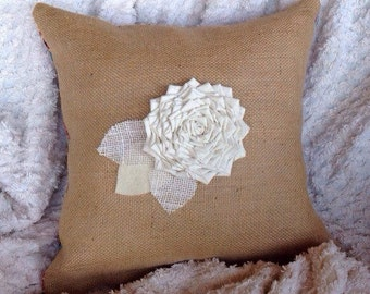 Burlap Pillow, Spring Decor, Throw Pillow, Flower Pillow, Rustic Decor, Decorative Pillow, Gifts Under 50, Mother's Day Gift, Wedding Gift