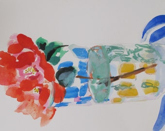 Camellia II....red, floral, abstract, flower, contemporary, gouache, watercolor