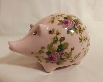 FREE SHIPPING pretty pink piggy bank rhinestone eyes (Vault 4)