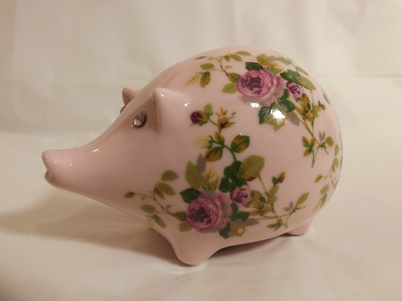 Free shipping pretty pink piggy bank rhinestone eyes vault 4 - Rhinestone piggy bank ...