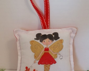 Tooth Fairy Pillow - Girl Fairy with dark hair  - Hand Painted - Name added FREE