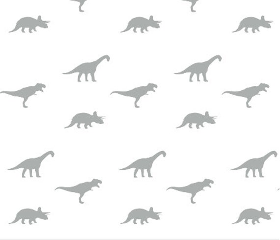 Grey on white dino custom fabric by little arrow design for Grey dinosaur fabric