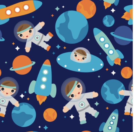 Space fabric astronaut outer space rocket custom fabric by for Space baby fabric