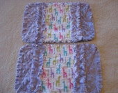 2 New Multicolor Giraffes Baby Girl Burp Cloths with Minky backing