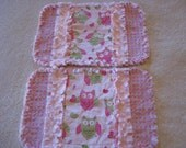 2 New Pink and Green Owls Baby Girl Burp Cloths with Minky backing