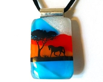 """Going Home"""" Colorful Fused Glass Horse Pendant Necklace"""