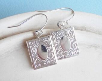 Silver Book Earrings - Book Worm - Book Locket - Teacher Gift