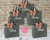 5 bridal party tote bags , bridesmaid gifts , tote bag , bachelorette party gift , destination wedding bag , bridesmaid bags