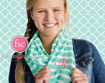 KIDS Monogrammed infinity scarf , AQUA   stripe scarf , personalized scarf , infinity scarf , monogram scarf
