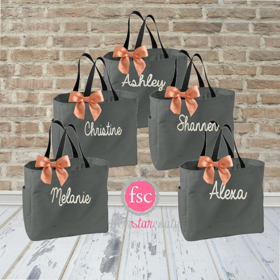 5 Bridal Party Tote Bags Bridesmaid Gifts By