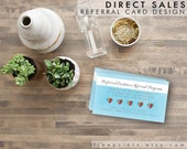 customer referral cards - watercolor blue background, printable instant download