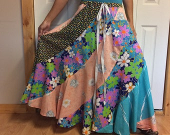 Floral Long Maxi Skirt with Pocket/Long Hippie Skirt/Long Gypsy Skirt/Long Bohemian Skirt/Full Swing/Plus Size/Free Size/One Size/2X/3X/4X