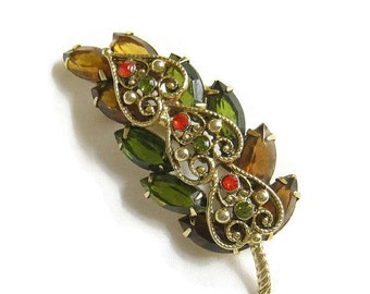 Vintage JULIANA Style Amber, Green, Topaz and Orange Rhinestone Filigree Leaf Brooch or Pin