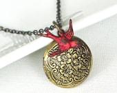 Red Bird Locket Necklace, Cardinal, Keepsake Jewelry