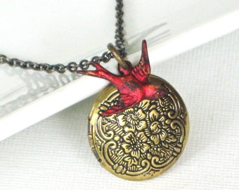 Red Bird Locket Necklace, Cardinal, Keepsake Jewelry