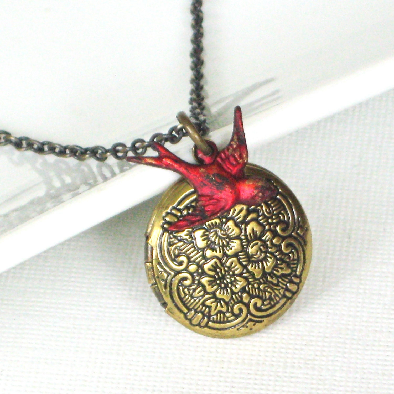 bird locket necklace cardinal keepsake jewelry