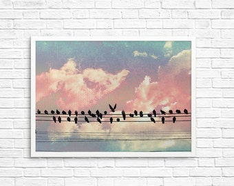 BUY 2 GET 1 FREE Nature Photography, Bird Wall Art, Nursery Decor, Fine Art Print, Birds On A Wire, Magical Wall Art, Bird Decor, Surreal