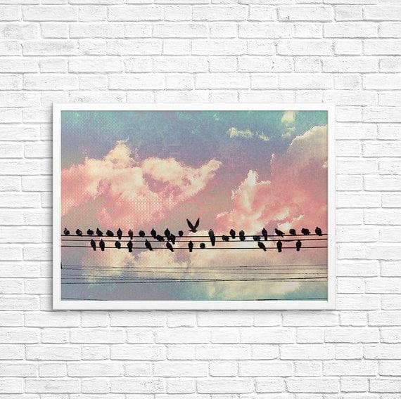BUY 2 GET 1 FREE Nature Photography, Bird Wall Art, Nursery Decor, Fine Art Print, Birds On A Wire, Magical Wall Art, Bird Decor, Surreal