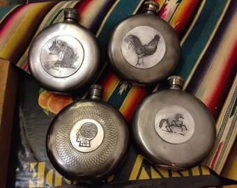 Batch No. 10 Round Assorted Flasks in Embossed Designs