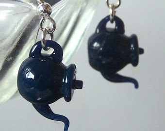Dark Navy Blue Tea Tiny Teapots - Handmade Glass Dangling Lampwork Earrings SRA