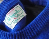 Vintage 80s BENETTON Italy Blue Sweater // Pockets // Pullover // Nice